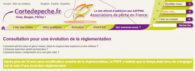 Evolution de la carte en pêche en France